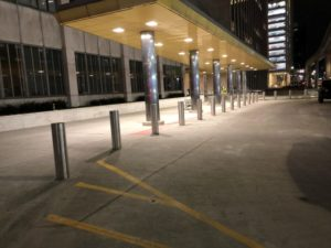 Stainless Parking Pillars for Coleman A. Young Building
